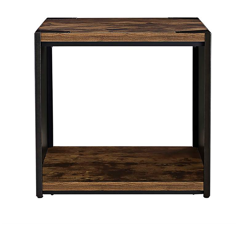 "Webster 24"" Wide Brown Wood and Steel Plate Side Table more views"