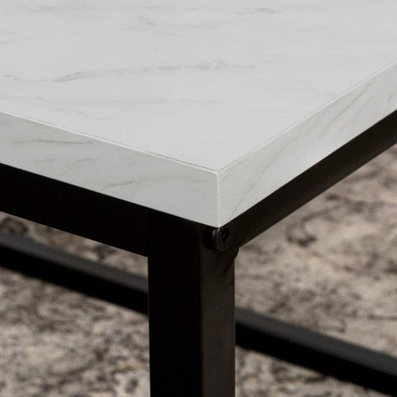 """Adeline 42"""" Wide Faux White Marble and Metal Coffee Table more views"""