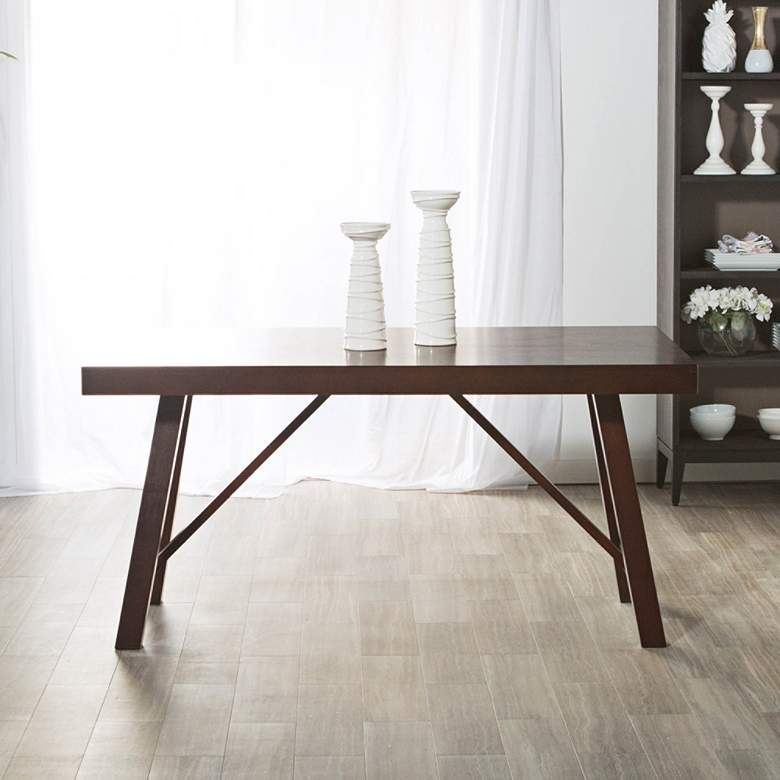 "Trestle 80"" Wide  Espresso Wood Dining Table more views"