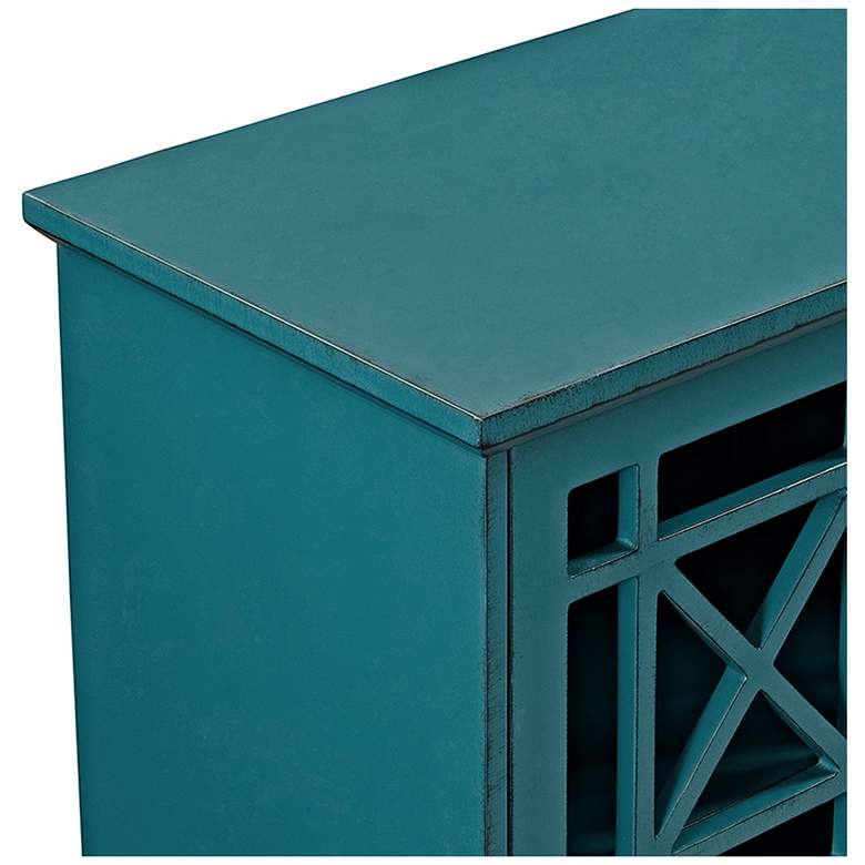 "Gwen 32"" Wide Fretwork Blue Wood 2-Door Accent Console more views"