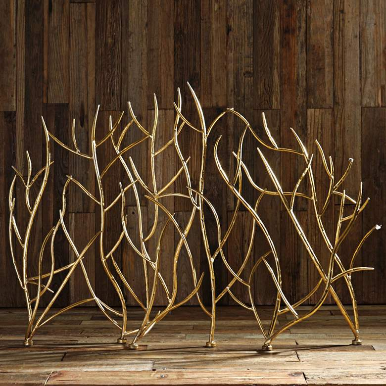 "Uttermost Gold Branches 32"" High Decorative Fireplace Screen more views"