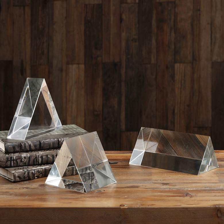 Uttermost Triangle Trio 3-Piece Crystal Pillar Set more views
