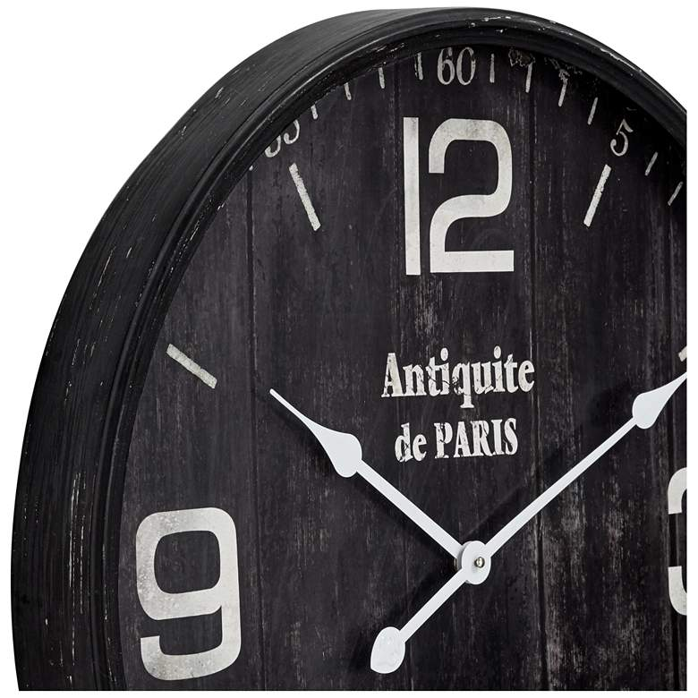 "Antiquite de Paris 23 1/2"" Brown Round Metal Wall Clock more views"