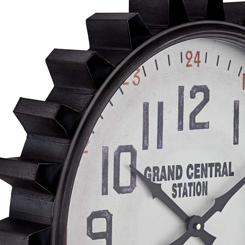 "Industrial Gear 23 1/2"" Round Metal Wall Clock more views"
