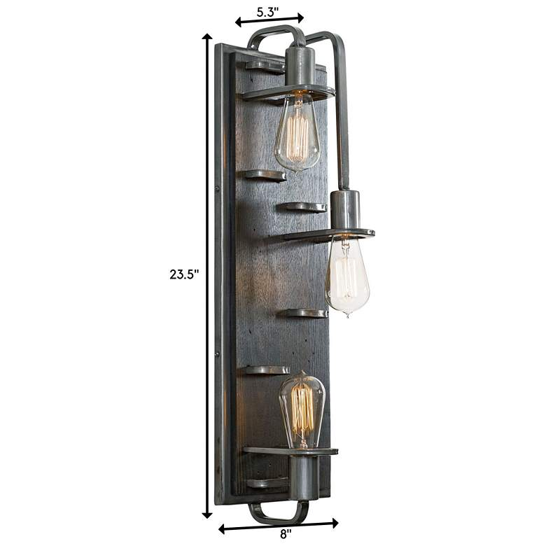 "Lofty 23 1/2""H Steel and Faux Zebrawood 3-Light Wall Sconce more views"