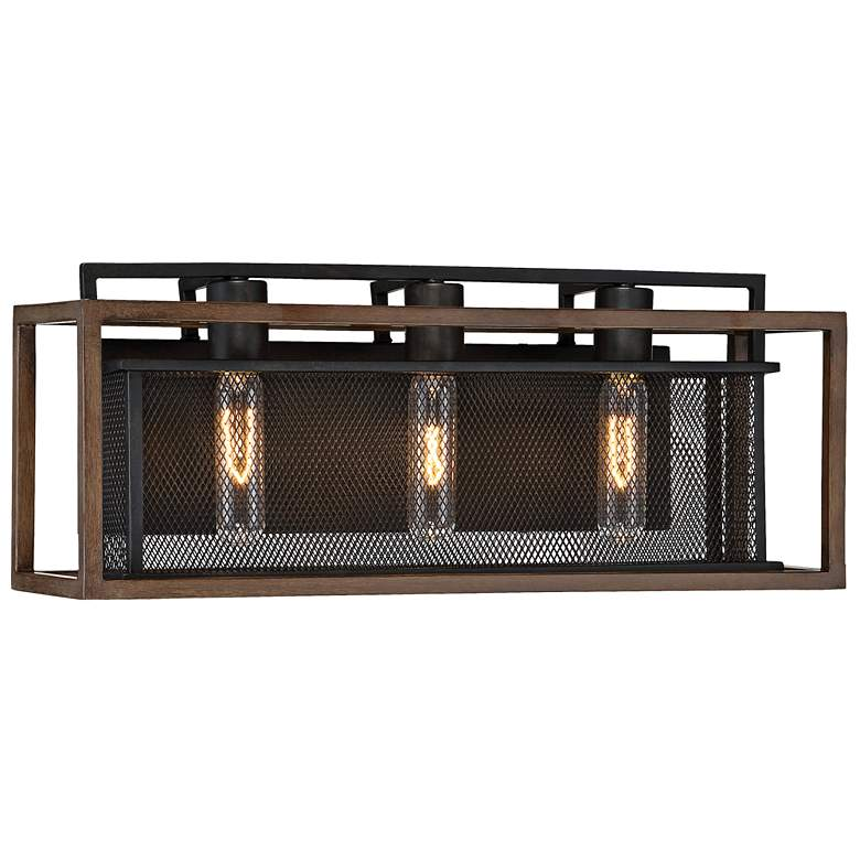 "Varaluz Rio Lobo 21"" Wide Dark Oak and Black 3-Light Bath Light more views"
