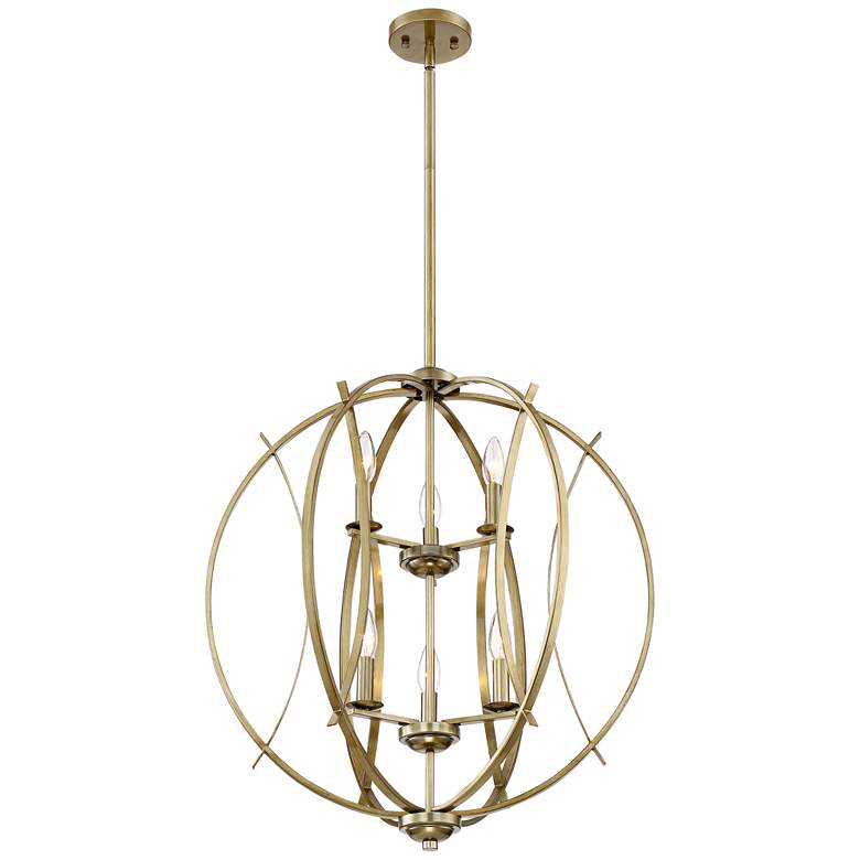 "Possini Euro Spherical 24"" Wide Antique Gold 6-Light Pendant more views"