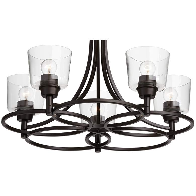 "Whitfield 22 1/2""W Bronze and Clear Glass 5-Light Chandelier more views"