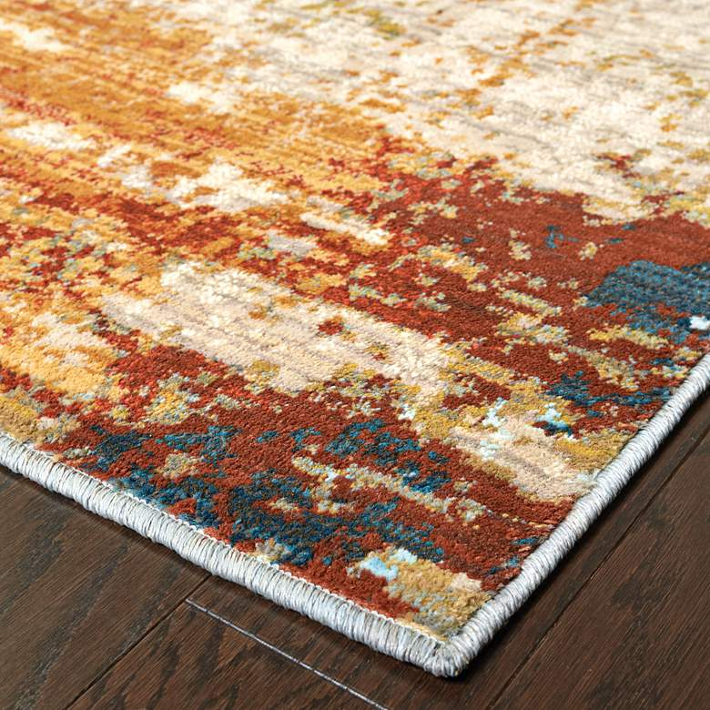 "Sedona 6365A 5'3""x7'6"" Blue and Red Abstract Area Rug more views"