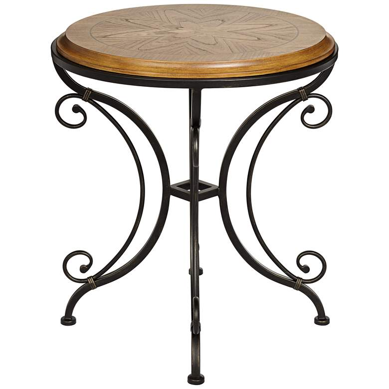 "Leda 22 1/4"" Wide Gold Brushed Black Round Accent Table more views"