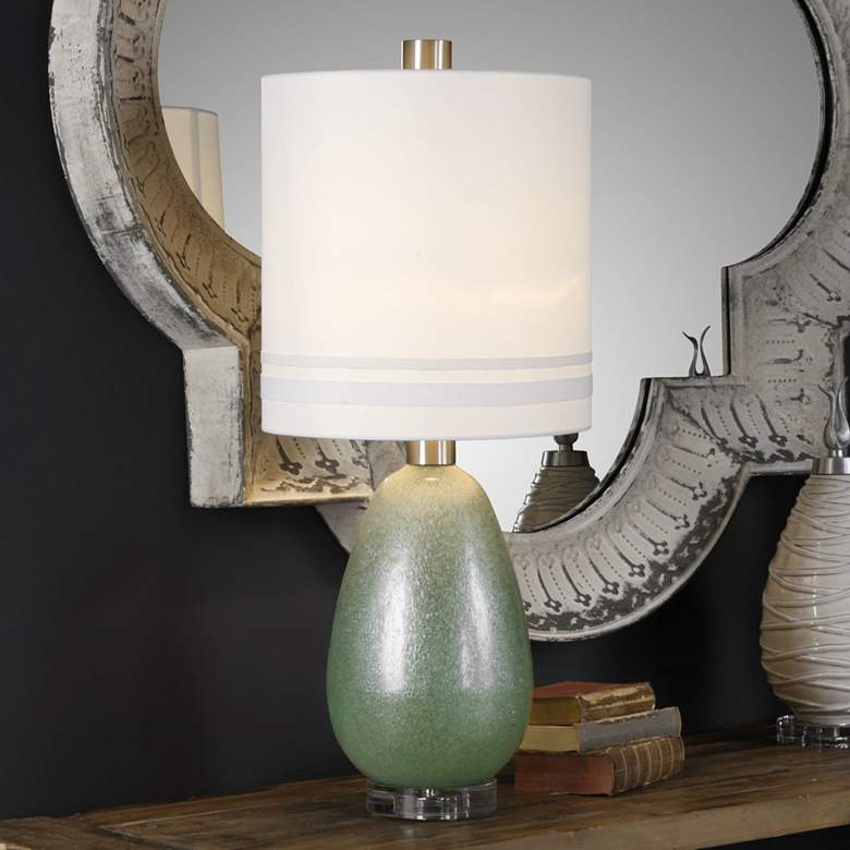Uttermost Aileana Frosted Rust Green Glass Buffet Table Lamp more views