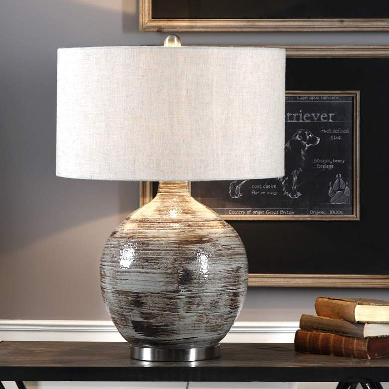 Uttermost Tamula Distressed Blue-Gray Ceramic Table Lamp more views