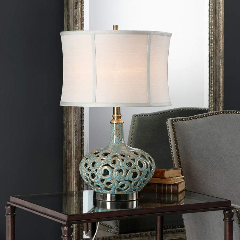 Uttermost Volu Gray and Blue Ceramic Table Lamp more views