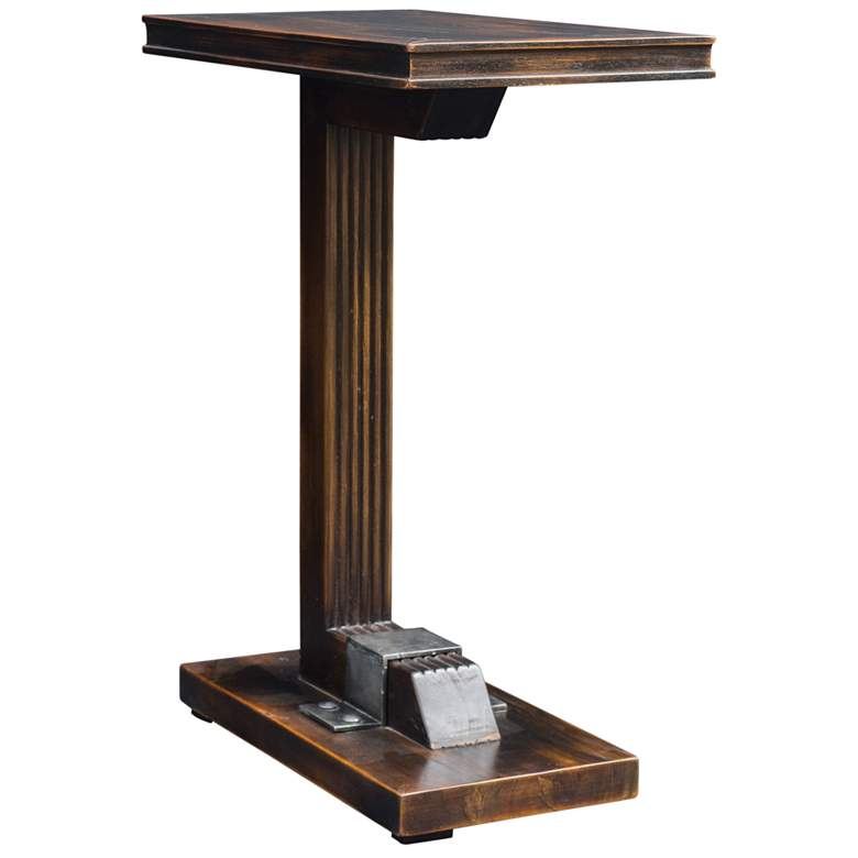 "Uttermost Deacon 22"" Wide Worn Black and Honey Accent Table more views"
