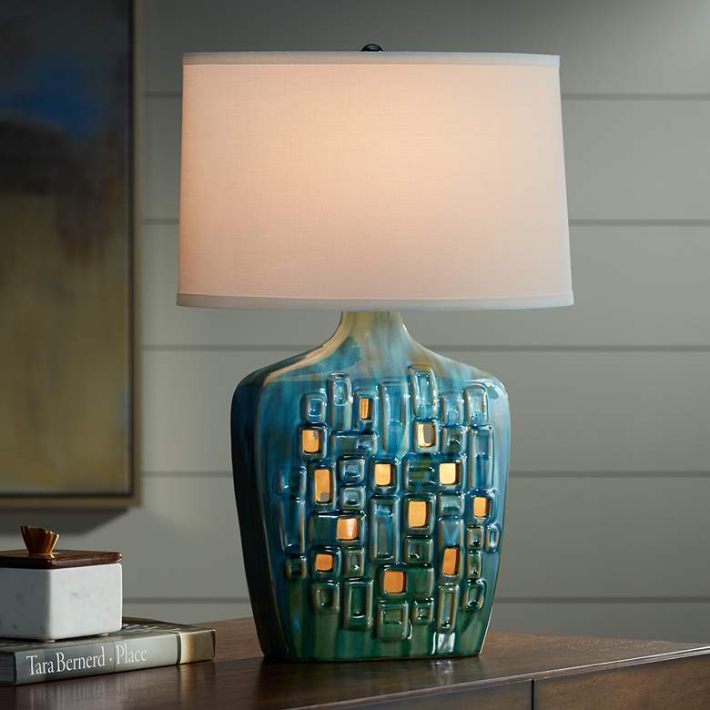 Possini Euro Vincent Ceramic Table Lamp with LED Night Light more views