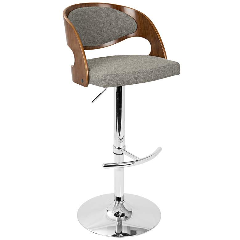 Pino Gray Fabric and Walnut Adjustable Swivel Bar Stool more views