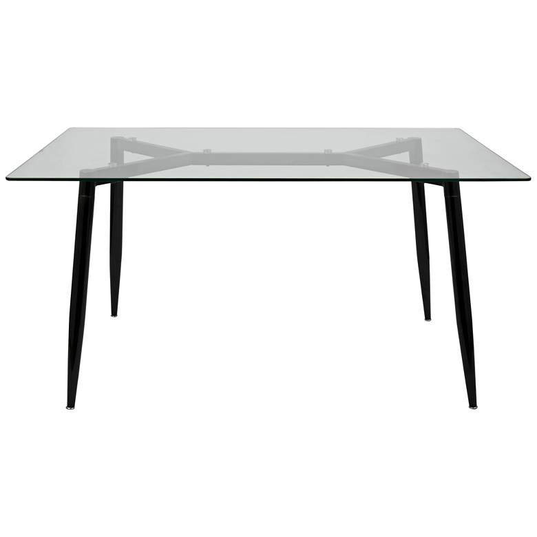 "Clara 59""W Black and Clear Glass Rectangular Dining Table more views"