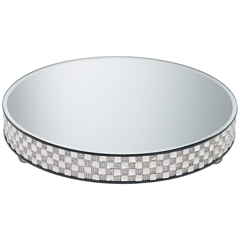 "Ashley Silver Mirror-Top 13 3/4"" Round Cake Stand more views"