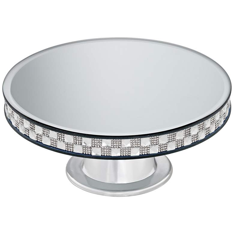 "Ashley Silver Mirror-Top 9 3/4"" Round Pedestal Cake Stand more views"