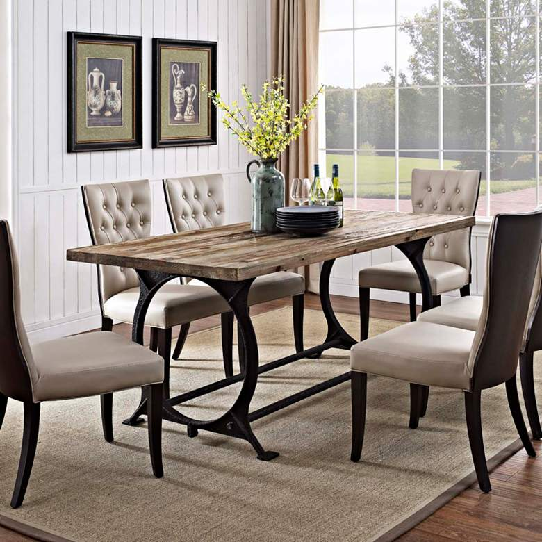 "Effuse 76"" Wide Brown Rectangular Dining Table more views"