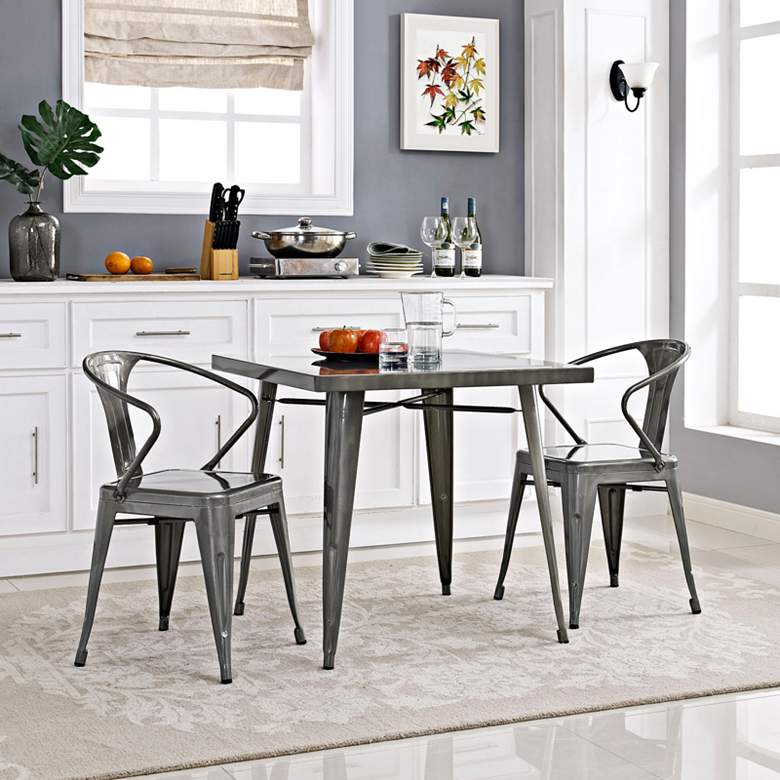 "Alacrity 32"" Wide Gunmetal Gray Square Metal Dining Table more views"