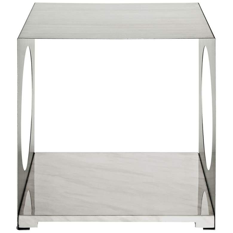 "Surpass 19 1/2"" Wide White Finish Modern Side Table more views"