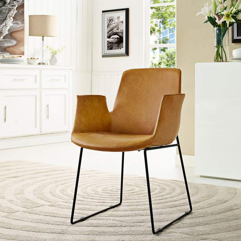 Aloft Tan Faux Leather Dining Chair more views
