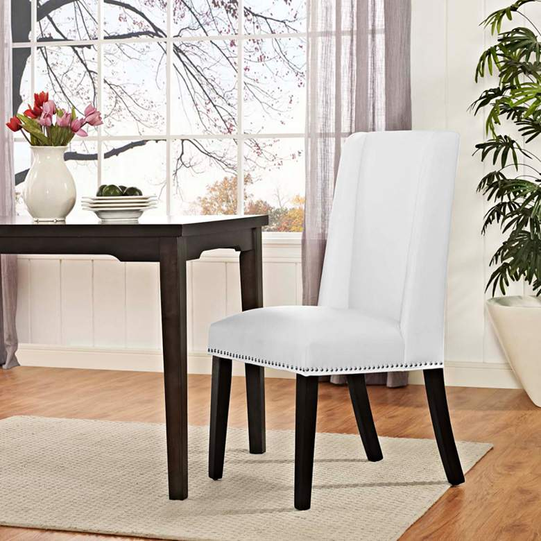 Baron White Vinyl Dining Chair more views