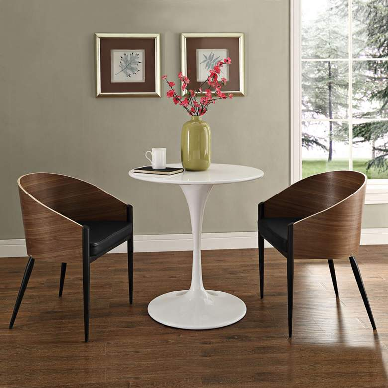Cooper Black Vinyl and Walnut Wood Dining Chair Set of 2 more views