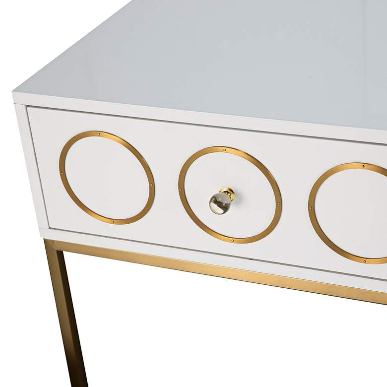 "Ella 25"" Wide White Lacquer and Brushed Gold Luxe Side Table more views"