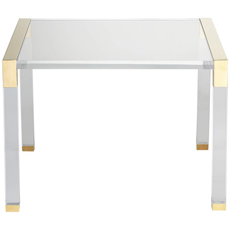 "Hanna 23 1/2"" Wide Gold and Clear Acrylic Side Table more views"