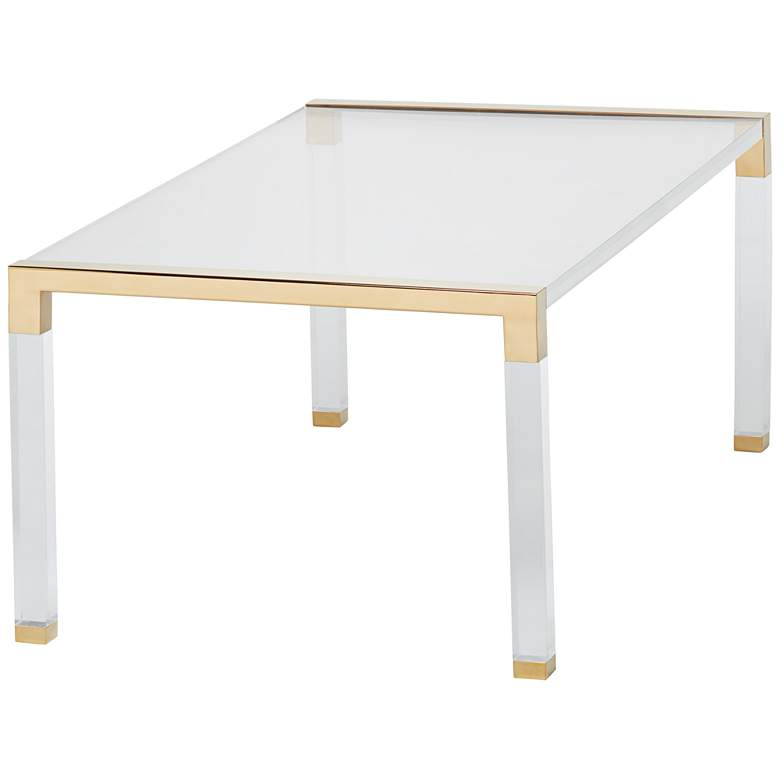 "Hanna 43"" Wide Gold and Clear Acrylic Cocktail Table  more views"