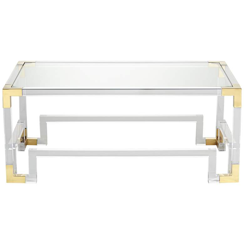 "Hanna 48"" Wide Clear Acrylic Geometric Base Coffee Table  more views"