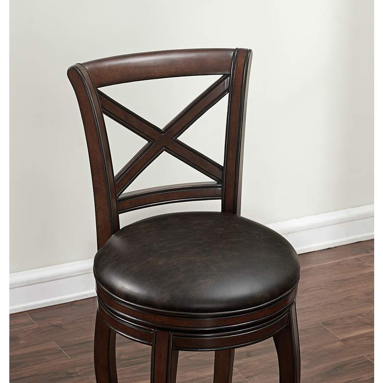 "Portland 26"" Tobacco Bonded Leather and Navajo Counter Stool more views"