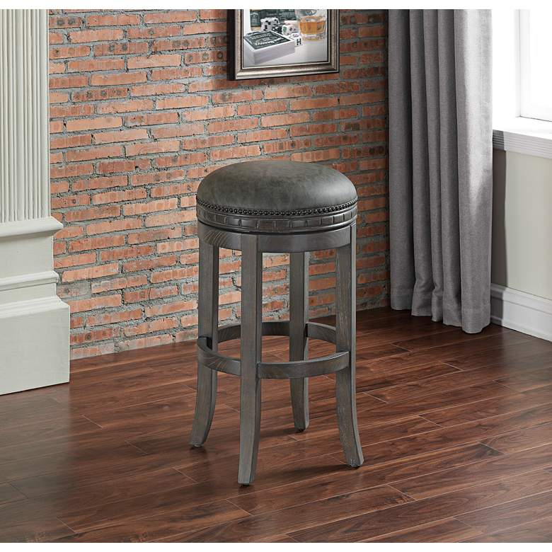 Sonoma 26 Quot Charcoal Bonded Leather Swivel Counter Stool