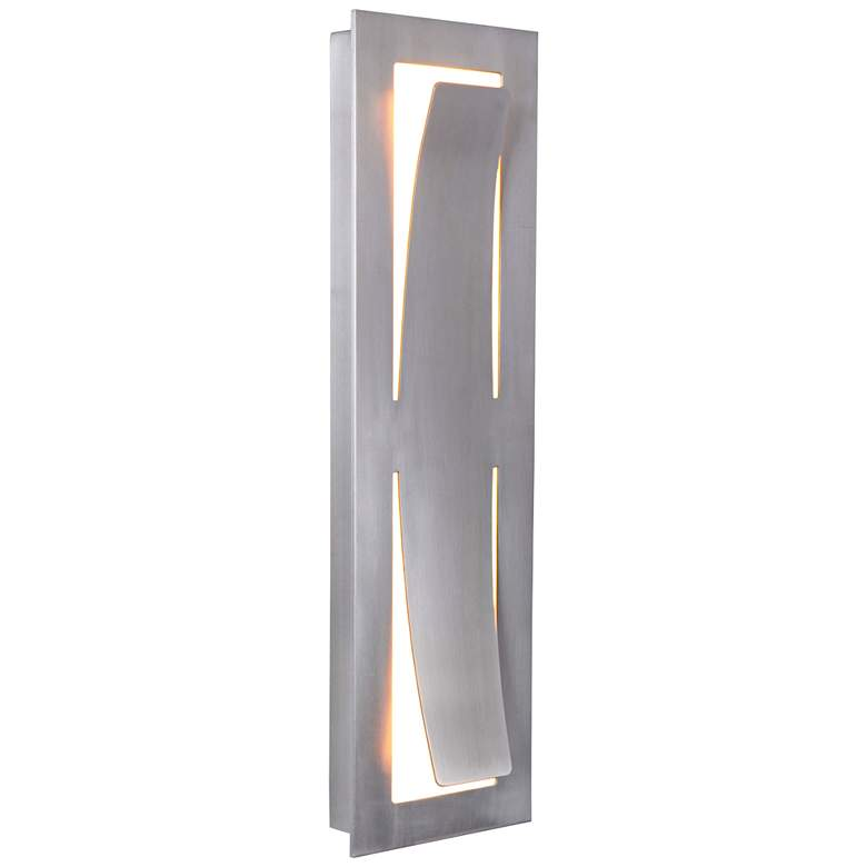 "Enzo 17 3/4""H Satin Aluminum LED Pocket Outdoor Wall Light more views"
