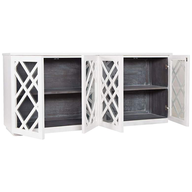 "Plaid 72"" Wide White Wood and Glass 4-Door Credenza more views"