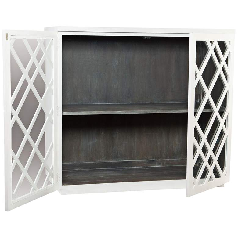 "Plaid 50"" Wide White Wood and Glass 2-Door Bar Cabinet more views"
