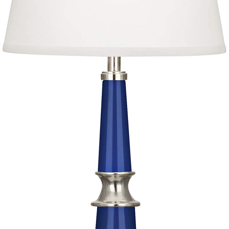 Versailles Navy Blue Lacquer White Shade Buffet Table Lamp  more views