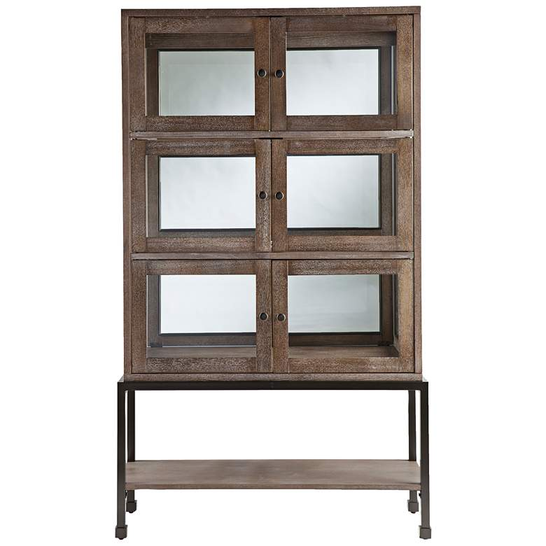 "Brace 36 1/4"" Wide Burnt Oak and Glass Lighted Curio Cabinet more views"