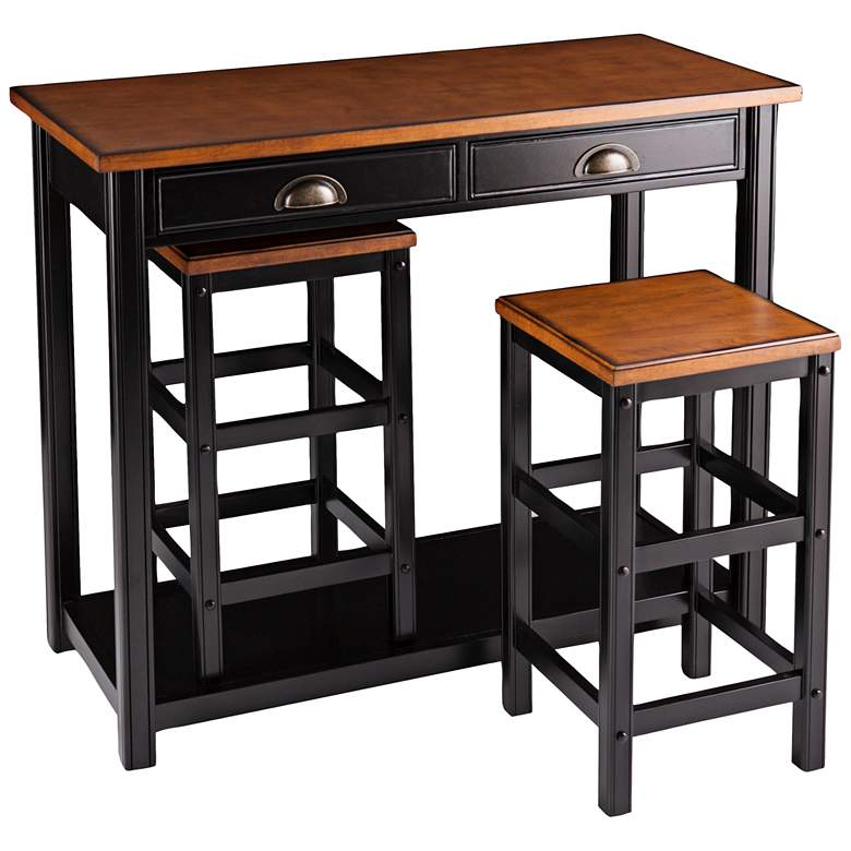 "Lucas 41 3/4"" Wide Walnut Table and Stools Breakfast Set more views"