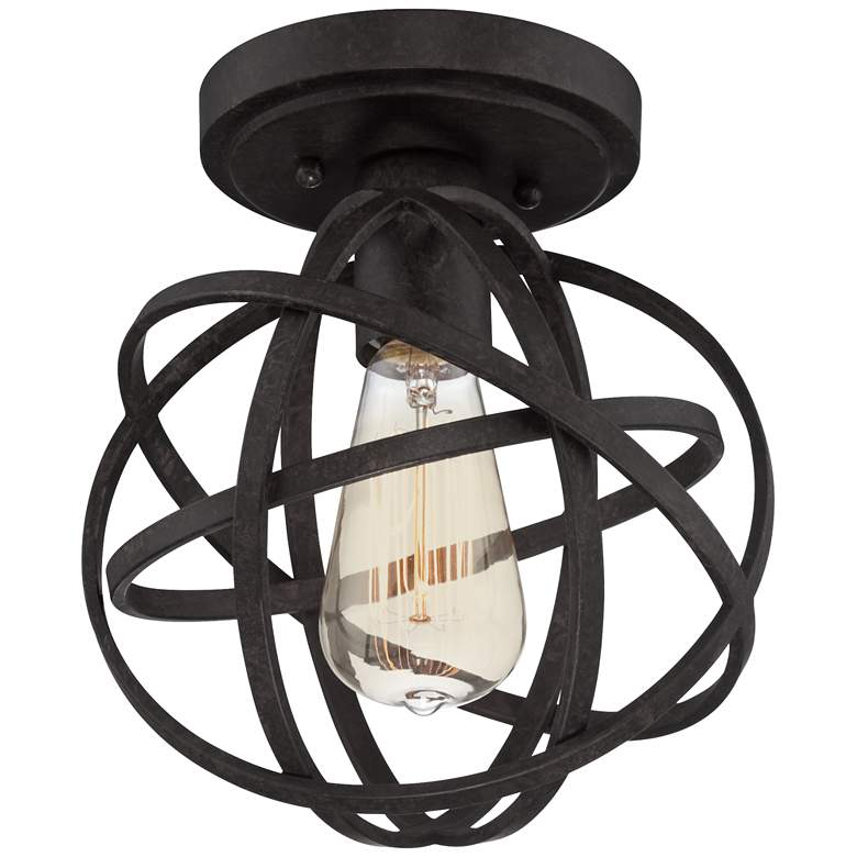 "Industrial Atom 8"" Wide Edison Black LED Ceiling Light more views"