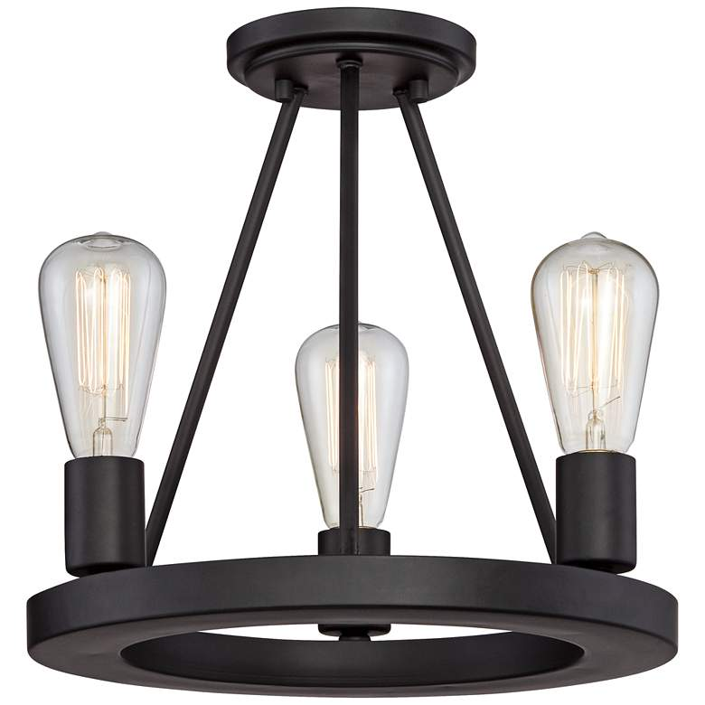 "Lacey 13""W Black 3-Light Ceiling Light w/ LED Edison Bulbs more views"