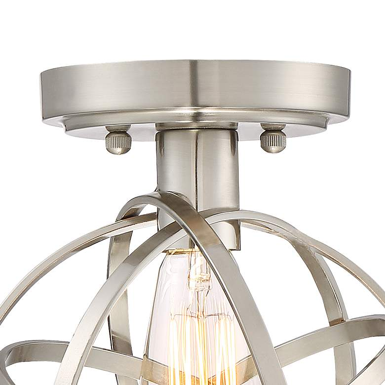 "Industrial Atom 8"" Wide Brushed Nickel LED Ceiling Light more views"