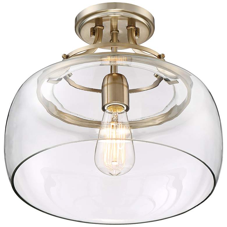 "Charleston Brass 13 1/2"" Wide Clear Glass LED Ceiling Light more views"