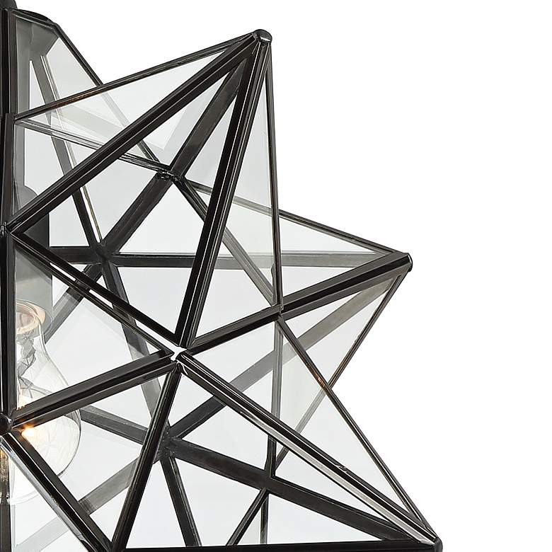 "Cuthbert 15""W Black and Clear Glass Star Pendant Light more views"
