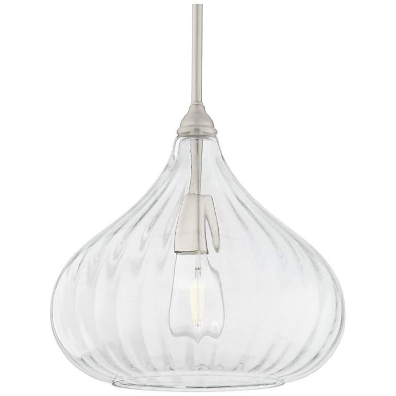 "Major 12 1/2"" Wide Nickel and Clear Glass LED Pendant Light more views"