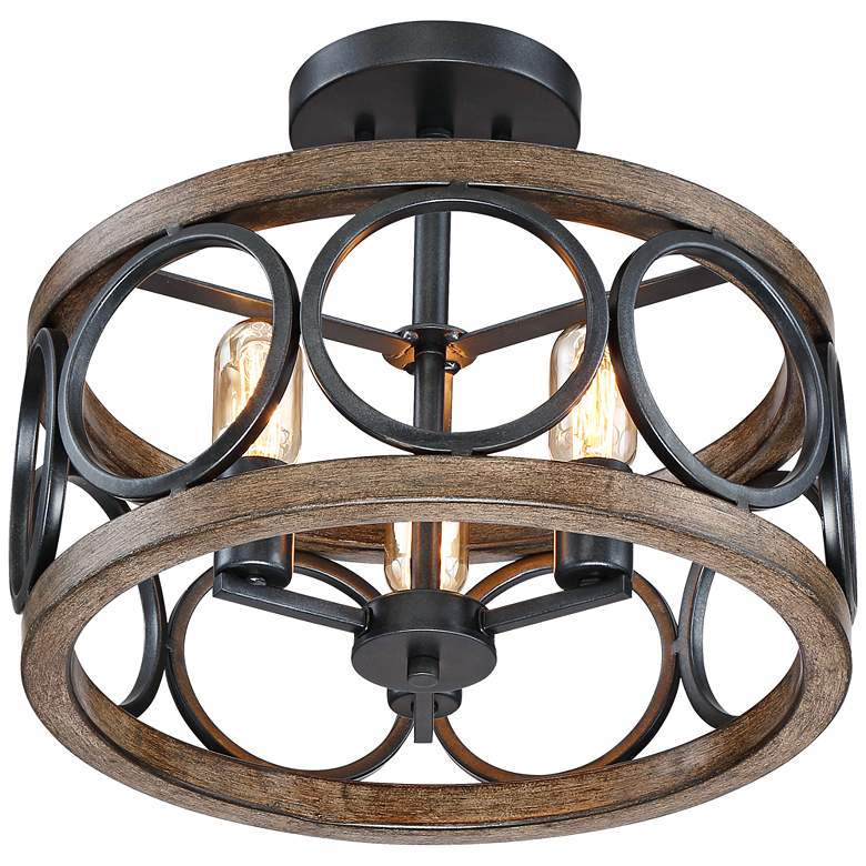 "Salima 16""W Black and Wood Grain 3-Light LED Ceiling Light more views"