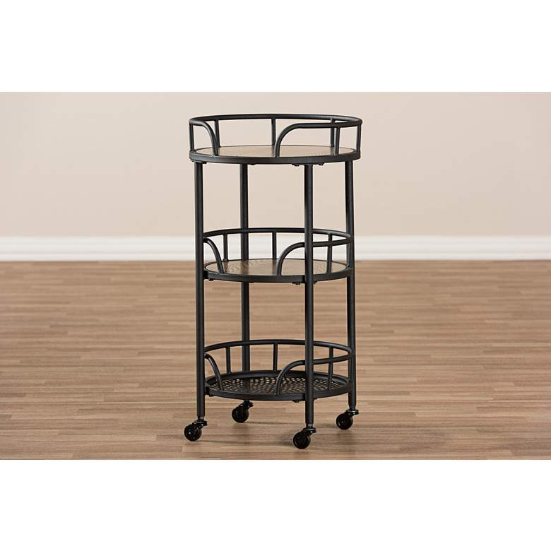 "Bristol 17 3/4"" Wide Antiqued Black 3-Shelf Serving Cart more views"