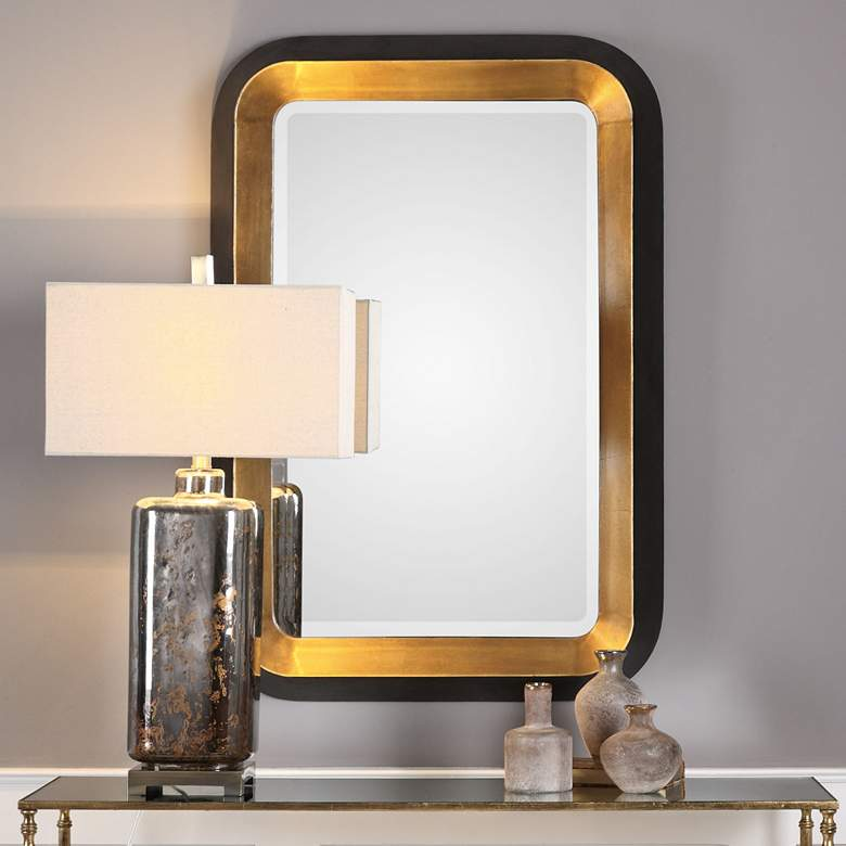 "Niva Antiqued Gold Leaf and Black 28"" x 42 1/4"" Wall Mirror more views"